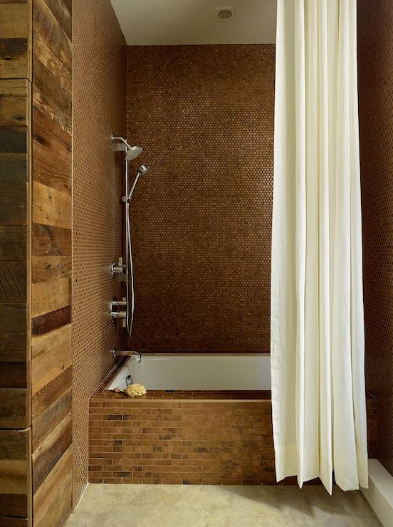 Copper Penny Tiles  Eclectic  bathroom  Geremia Design