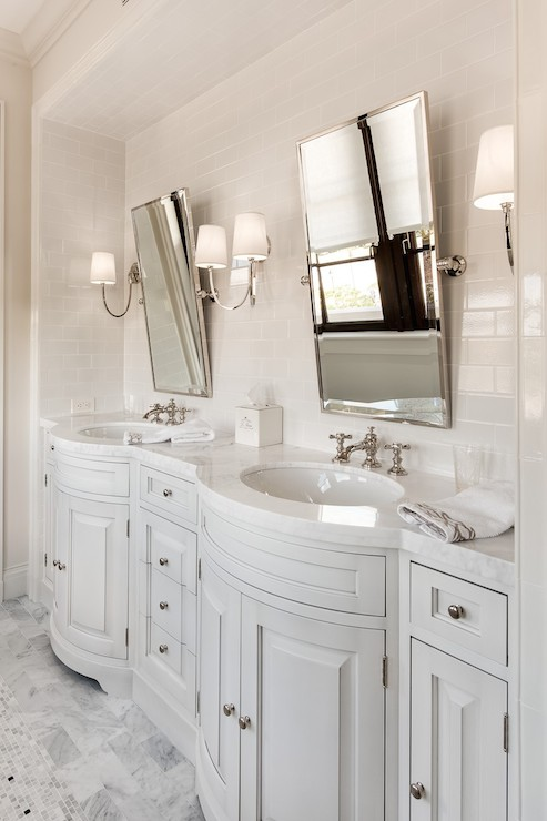 vanity with chair and mirror leather chairs of bath lansdown beveled subway tile backsplash - contemporary bathroom ferreira design
