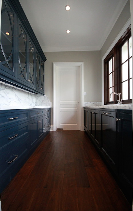 Navy Blue Cabinets  Transitional  kitchen  Planning and