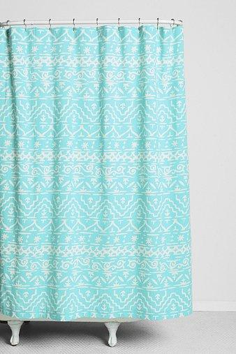 Magical Thinking Sketched GeoStripe Turquoise Shower Curtain