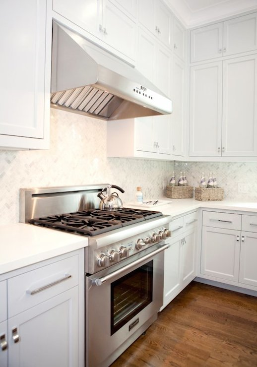 White Kitchen With Gray Wash Wood Tile Floors Transitional Kitchen
