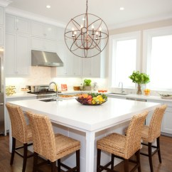 Square Kitchen Island Copper Lighting Seagrass Barstools Transitional Marsh And Clark