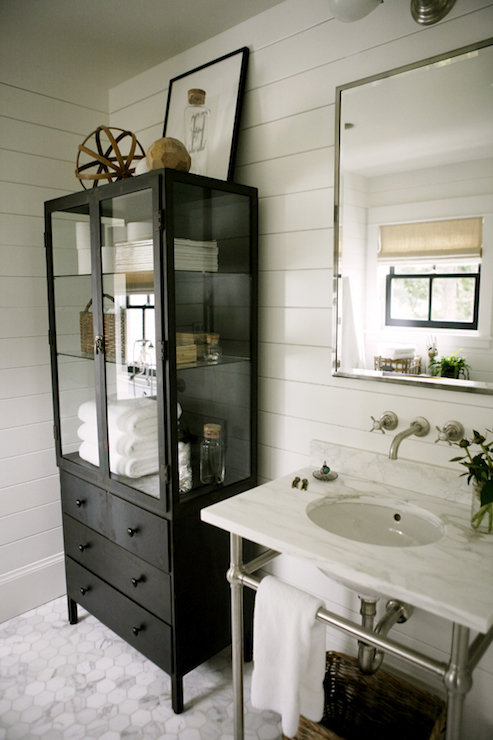 Glass Front Bathroom Linen Cabinet With Polished Brass Hardware Contemporary Bathroom