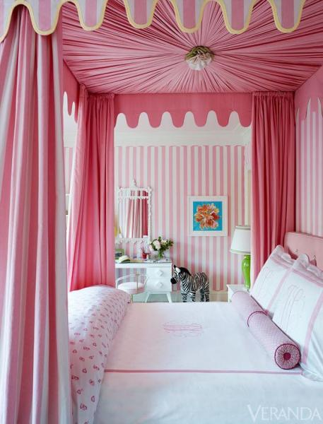 little girls pink bedroom with canopy bed Pink Canopy Bed - Transitional - girl's room - Veranda