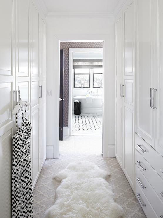 Walk Through Closet  Traditional  closet  Benjamin Moore Super White  Urrutia Design