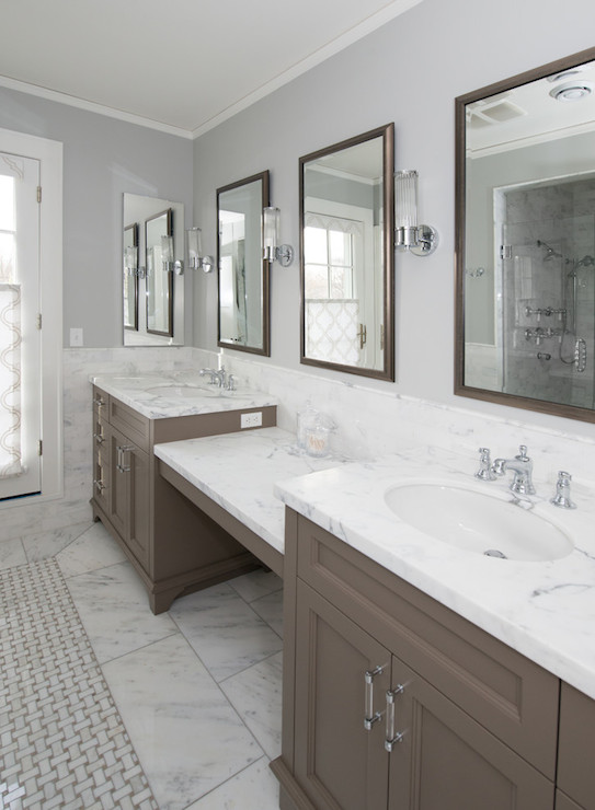 Gray Wash Bath Vanity Cabinets with Gray Marble Diamond