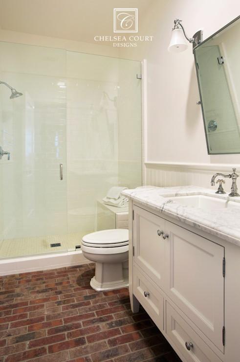 Brick Floor  Transitional  bathroom  Chelsea Court Designs