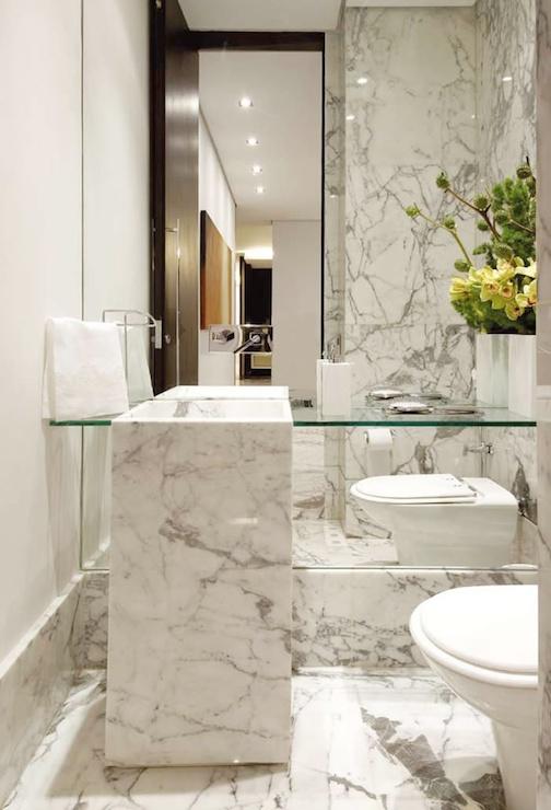 Marble Powder Room Contemporary Bathroom