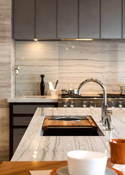 White Macaubas Quartzite  Contemporary  kitchen
