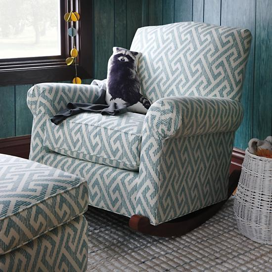 rocking chair pad sets video game rocker teal upholstered nursery   the land of nod