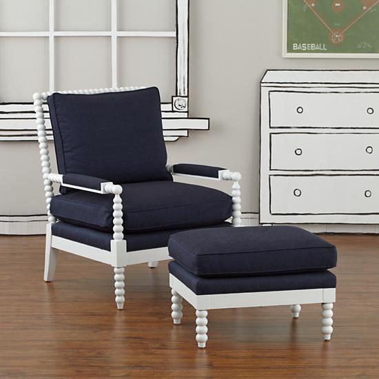 Blue Accent Chair Ottoman