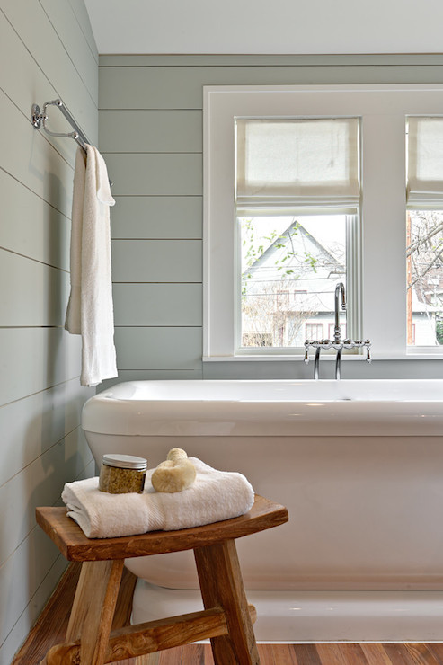 Gray Green Wall Paint Transitional Bathroom Benjamin Moore Tranquility Avenue B