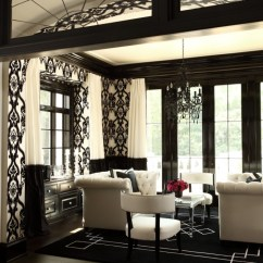 Black And White Curtains For Living Room Decorating A Long Narrow Photos Hollywood Regency The