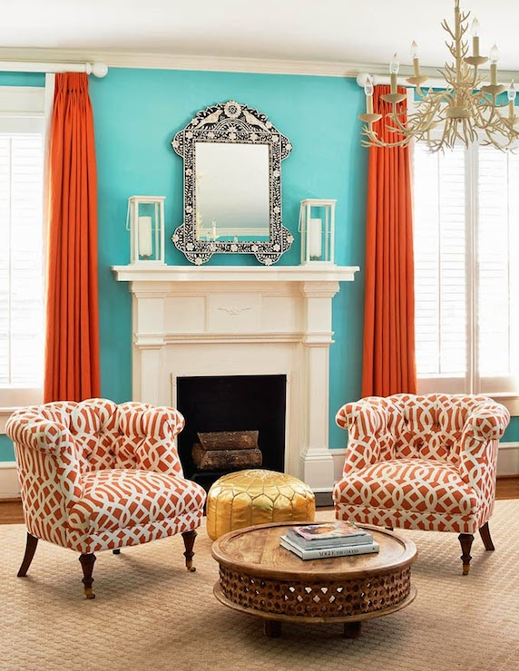 Orange Curtains Contemporary Living Room Holly Hollingsworth