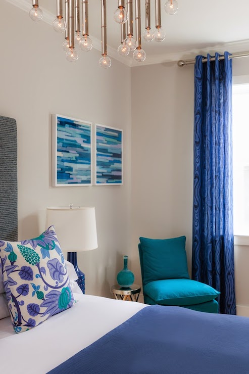 Cobalt Blue Curtains Cottage Bedroom Rachel Reider Interiors