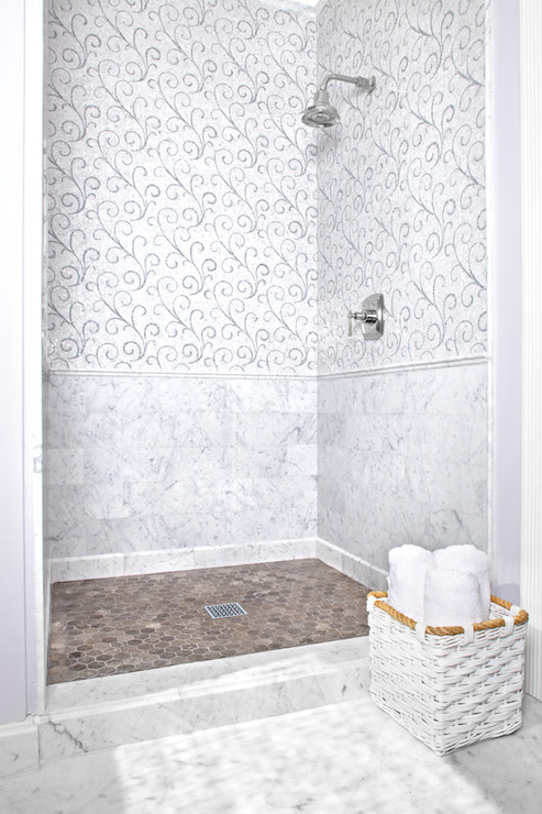 Shower With Marble Chair Rail Design Ideas