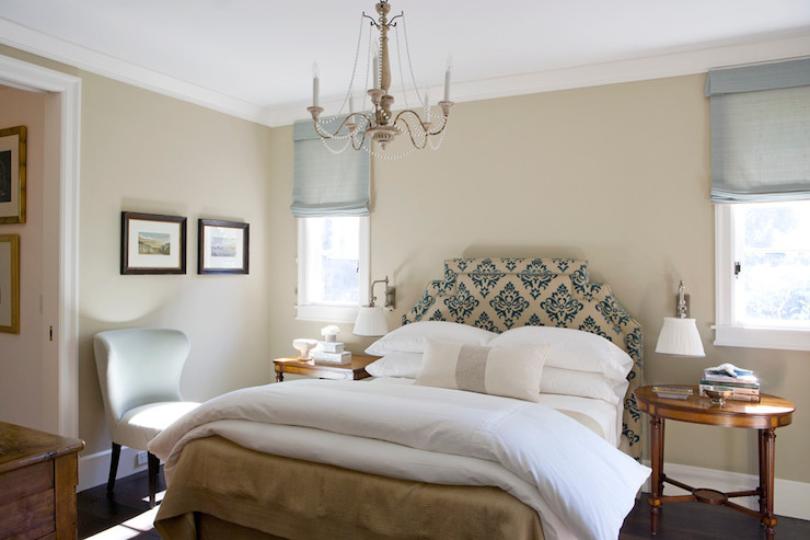 Beautiful Simple Girl Wallpaper Damask Headboard Transitional Bedroom Tim Clarke Design