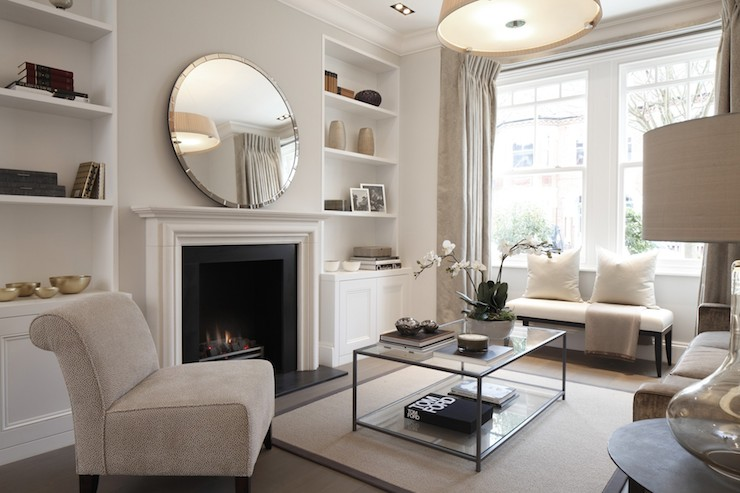 Round Mirror Over Fireplace Mirror Over Fireplace - Contemporary - Living Room - Laura