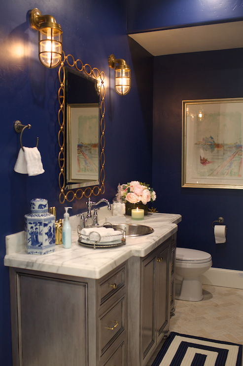 Navy Paint Colors  Transitional  Bathroom  Clark And