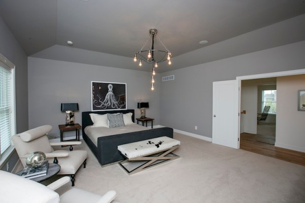 white walls grey ceiling bedroom X Bench - Transitional - bedroom - BIA Parade of Homes