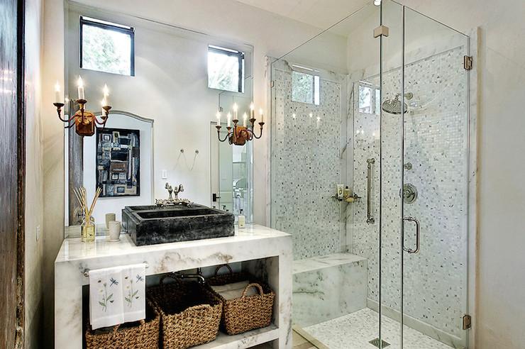 Black Marble Vessel Sink  Transitional  bathroom