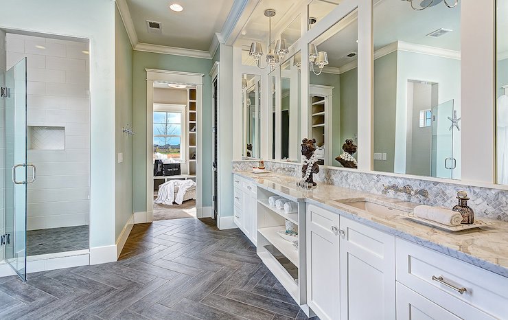 Wood Like Floor Tiles  Transitional  bathroom  Clark and Co Homes