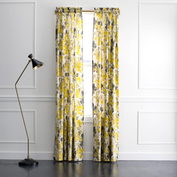 Gray And Yellow Floral Curtains Products Bookmarks Design