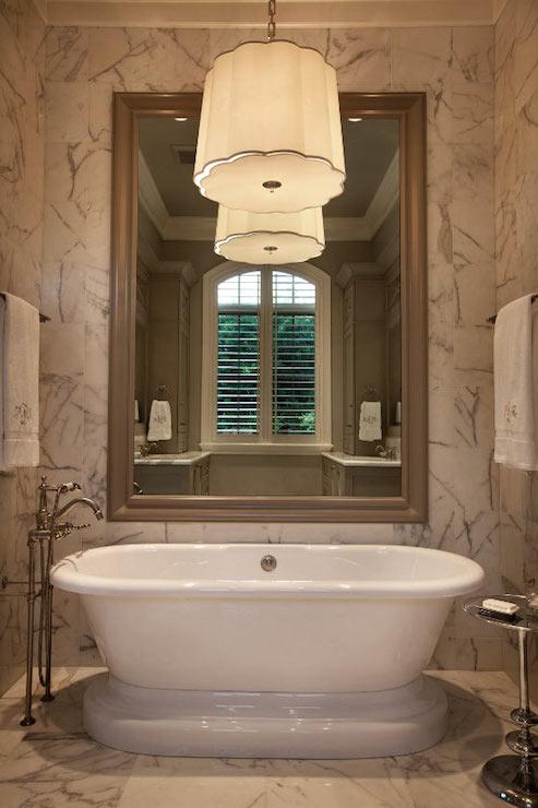 Chandelier Over Bathtub  Transitional  bathroom