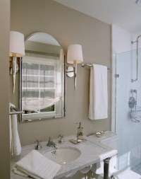 White and Taupe bathrooms - Transitional - bathroom ...