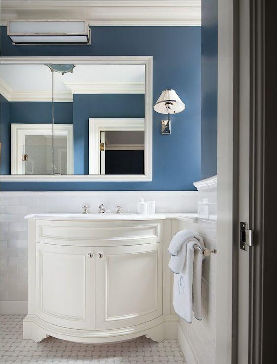 Curved Sink Vanity  Transitional  bathroom  Mark Hampton LLC