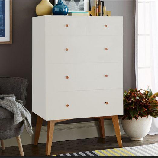 Tall Storage 5Drawer White Dresser