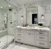 Bianco Carrara Marble - Transitional - bathroom