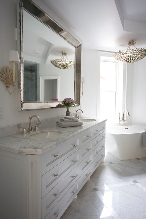 Venetian Beaded Mirror  Transitional  bathroom  Meredith Heron Design