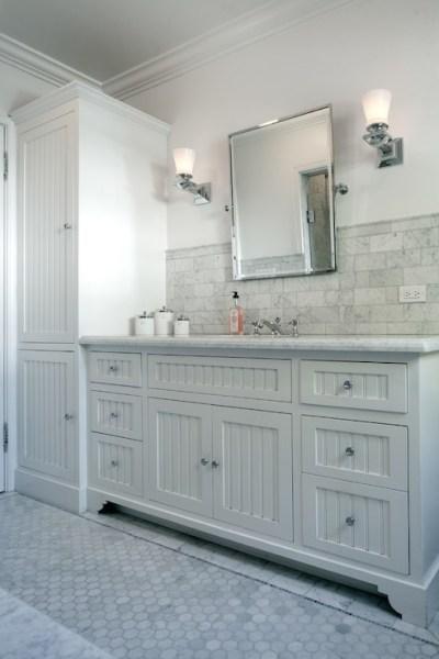 white wainscoting bathroom vanity Beadboard Sink Vanity - Transitional - bathroom - JWT Associates
