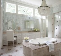 Blue Trellis Wallpaper - Transitional - bathroom - Tobi ...