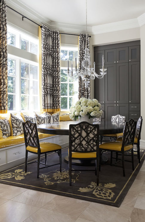 Yellow and Gray Dining Rooms  Transitional  dining room  Tobi Fairley