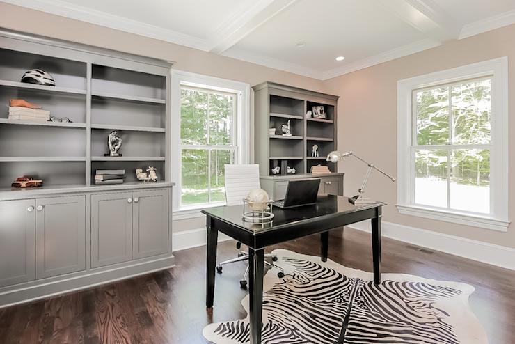 Gray Built Ins  Contemporary  denlibraryoffice  Jillian Klaff Homes