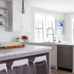 Modern Kitchen Island With Seating Space Saving Peninsula Dishwasher - Contemporary ...