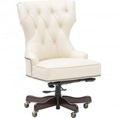 Tufted Desk Chair Seat Cushions For Kitchen Chairs Executive Ivory Leather