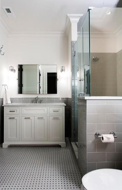 Gray Subway Tiled  Contemporary  bathroom  Urban