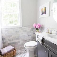 Gray Chair And A Half Swing Kirkland Aspen Quartz Countertop - Transitional Bathroom Curbly