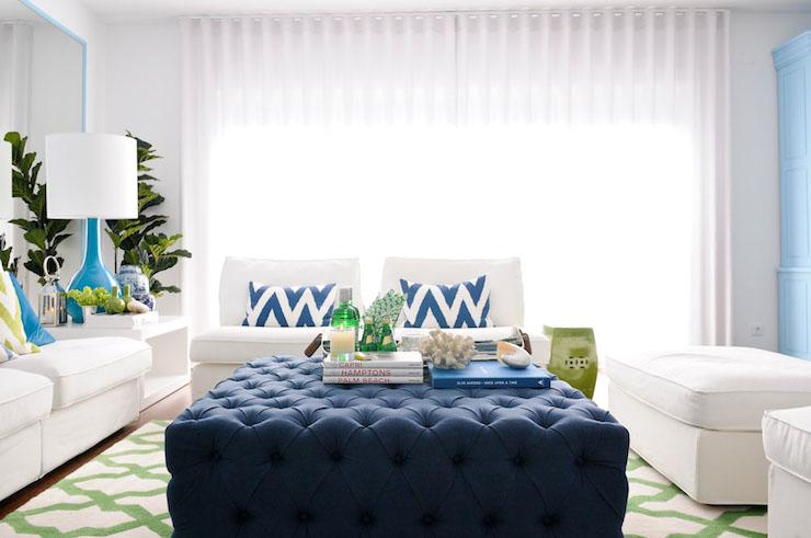 Navy Tufted Ottoman  living room  Maria Barros