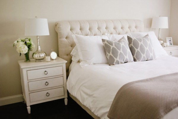 ivory and beige bedroom Chesterfield Sleigh Bed - Transitional - bedroom - Style Me Pretty