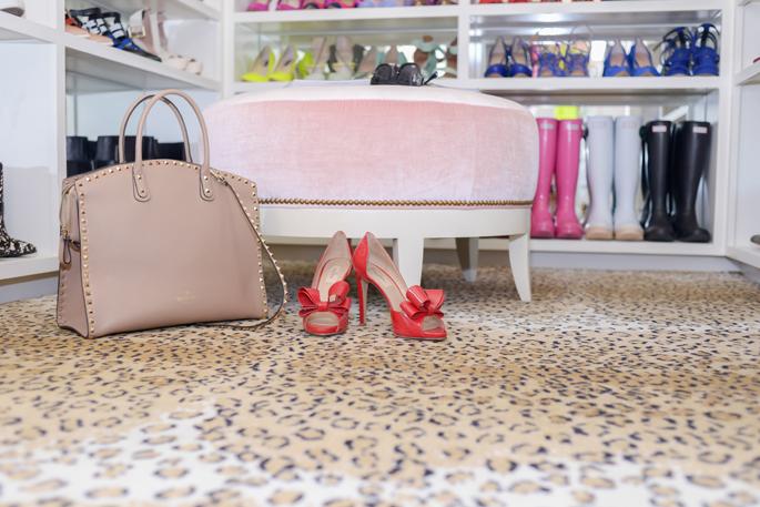 Pink Velvet Ottoman  Transitional  closet  Pink Peonies