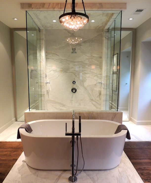 Bathtub in Front of Shower  Contemporary  bathroom  Chad James Group