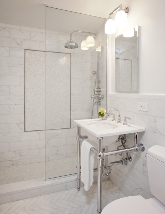 White Marble Herringbone Tiles  Transitional  bathroom