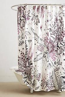 Purple And Black Shower Curtain