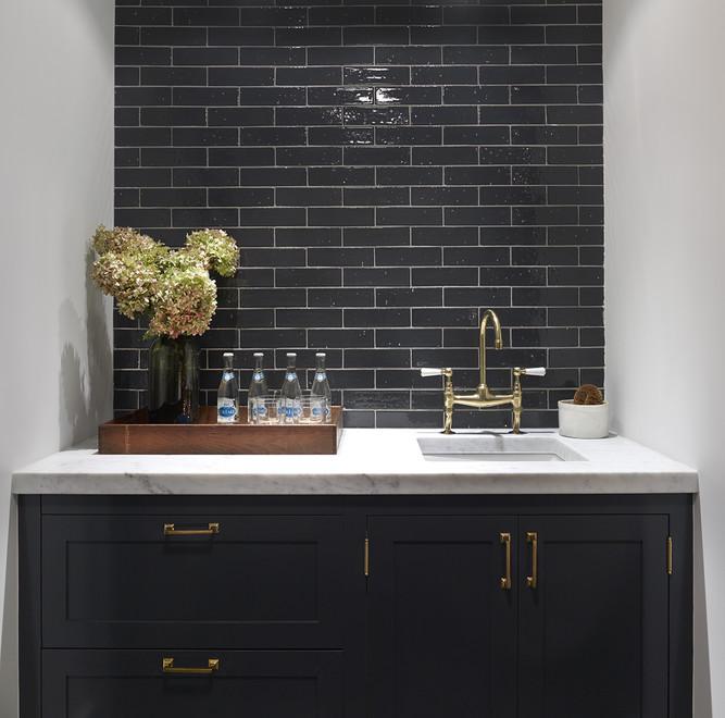 Black Kitchen Cabinets with Brass Hardware