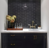 Black Kitchen Cabinets with Brass Hardware