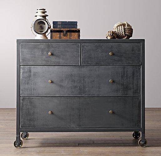 Vintage Locker Black Wide Dresser
